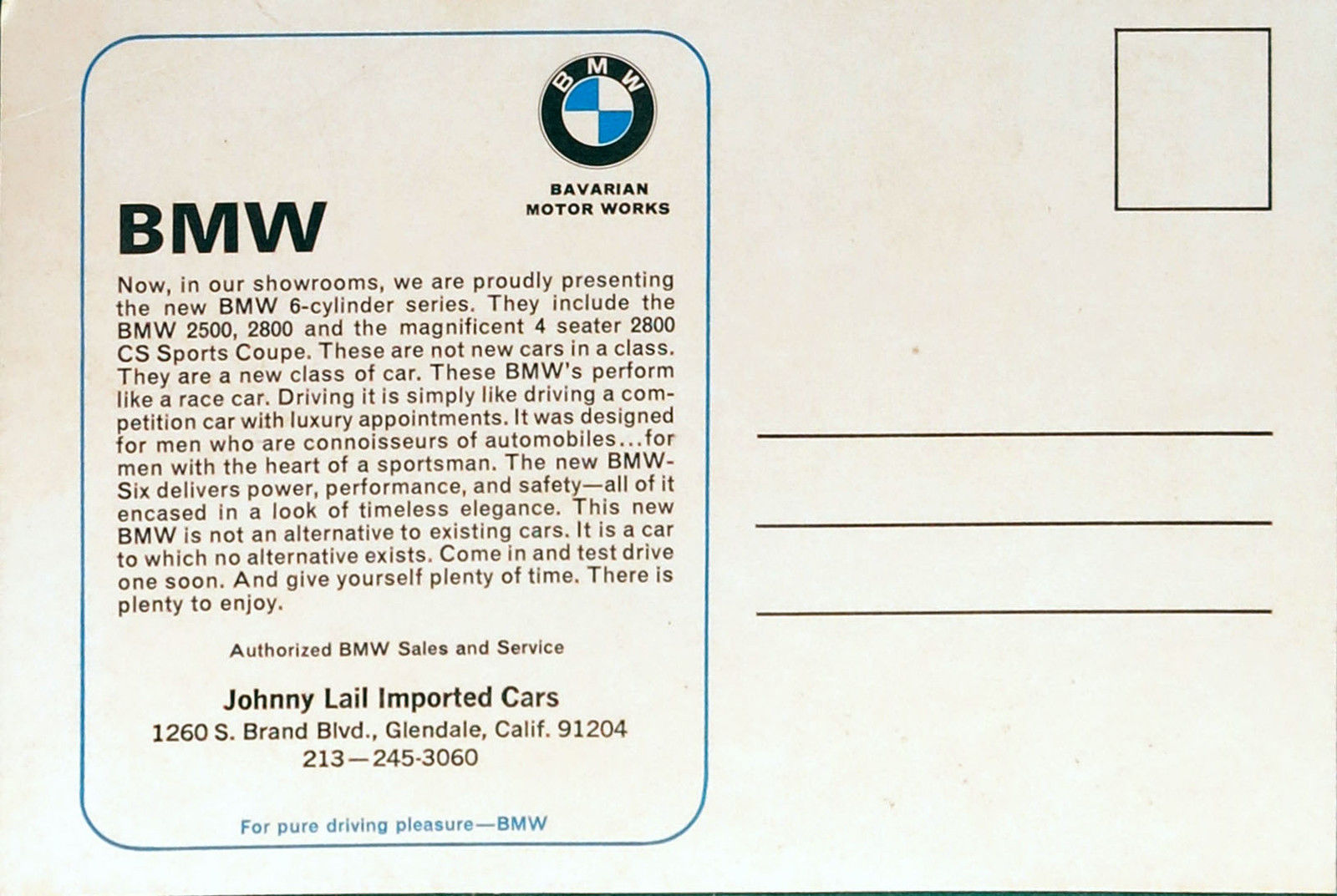 BMW dealer postcard back 2800CS new class