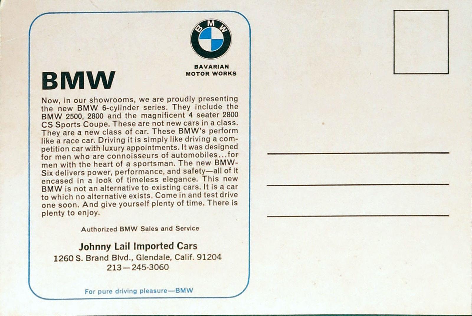 BMW dealer postcard back 2800CS new class